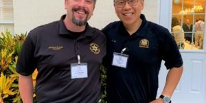 Matt Soergel and Frank Liu pause for a picture during the BPC synod meeting, edited